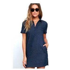 Lulus Denim Dark Blue Chambray Shirt Dress Womens